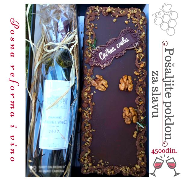 Poklon pakovanje tprta i vino za slavu